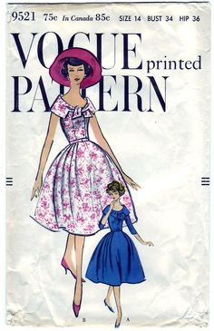 Vintage 1958 Vogue 9521    Full skirt with released pleats at sides joins the bodice at waistline. Looped ends cut in one with large shaped