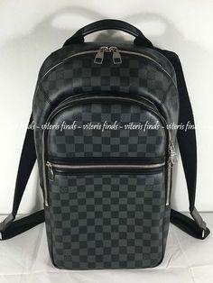 b800e0557c9c Auth Louis Vuitton Michael Damier Graphite Canvas Laptop Travel Backpack Bag   fashion  clothing