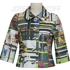 Joseph Ribkoff Jacket | Crop | Multi Colour.  Just in at Aspirations.  #fashion #jacket #josephribkoff