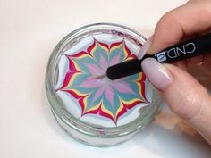 How To Produce Water Marbling Nail Art With Nail Polish (CND VINYLUX) - YouTube