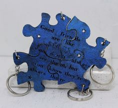 Friendship Set of 4 Best Friend Key chains Linking pieces Blue painted leather Good Friends are like stars Made To order by GirlwithaFrogTattoo on Etsy https://www.etsy.com/listing/214202877/friendship-set-of-4-best-friend-key