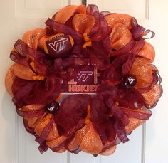 Va Tech Hokies wreath made with poly deco mesh in maroon and orange.