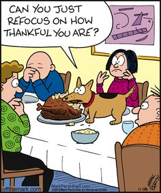 Can you just refocus here? ~ Thanksgiving humor | Off the Mark (2013-11-28) via GoComics