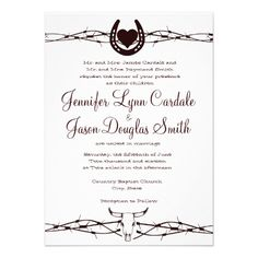 Barbed Wire Horseshoe Western Wedding Invitation