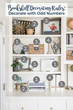 Work with odd numbers when decorating open shelves. Styling Bookshelves, Large Bookshelves, Bookshelves In Living Room, Decorating Bookshelves, Bookshelf Design, Open Shelves, Bookshelf Ideas, How To Decorate Bookshelves, Organize Bookshelf