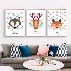 new cartoon beautiful fox and deer nordic children room wall posters and art reproductions on canvas interior without frame