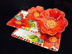 Laurie-Gates-Floral-Embossed-16-pc-Melamine-Dinnerware-Set-Red