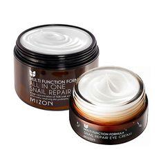 MIZON All In One Snail Cream 120ml [Super Size] + Snail Eye Cream 25ml Face Skin Care Set Korean Cosmetics