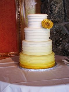 Mustard Yellow Wedding Cake By Curtis-C-Cakes Mustard Yellow Wedding, Gold Wedding, Wedding Day, Yellow Pantone, Hand Bouquet, Iphone App, Love Cake, Candy Buffet, Fondant Cakes