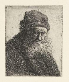 Man met baard en muts, Rembrandt Harmensz. van Rijn, 1626 - 1635