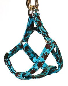 Mini Step In Dog Harness  Turquoise and Brown by Pugs2Persians, $16.00