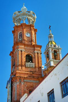The Church of Our Lady Guadalupe - you can literally stumble into it. Discover one of the city's most photographed places. Puerto Vallarta, Pacific Coast, Pacific Ocean, Two Worlds, Lady Guadalupe, Church Of Our Lady, Backdrops, History, Architecture