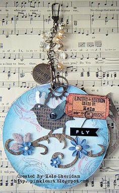 Handmade altered CD 3D mixed media decorative art