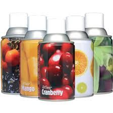 We stock a range of different scents from Cranberry to Baby Powder in 270ml cans that can last up to 52 days through our automatic spray units. See our website for a starter kit only £23.95 http://www.greenmybusiness.co.uk/products.aspx?id=471