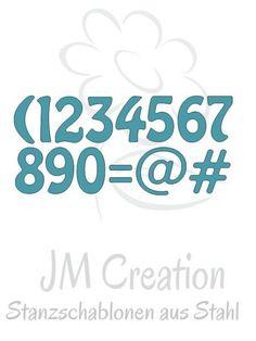 JM Creation Stanzschablone Zahlen www.papercrafts.ch