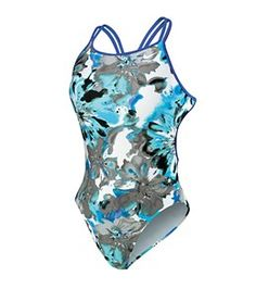 Nike Swim Tie Dye Floral Spider Back One Piece Swimsuit at SwimOutlet.com - The Web's most popular swim shop