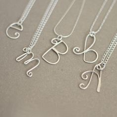 silver initial necklace alphabet letters by MeadowbelleMarket