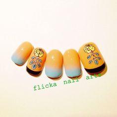 #Nailbook #ハンド #フラワー #ベージュ #flicka_nail #ネイルブック Nail Arts, Spring Nails, Nail Designs, Nail Ideas, Nailbook, Paris, Orange, Recipes, Long Nails