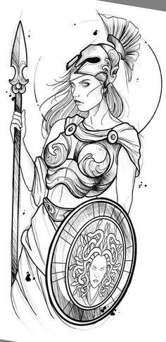 Greek Goddess Tattoo, Greek Mythology Tattoos, Greek God Tattoo, Roman Mythology, God Tattoos, Badass Tattoos, Body Art Tattoos, Athena Tattoo, Zeus Tattoo