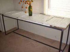 vintage door--i've always wanted a kitchen table made from old doors. Old Wooden Doors, Antique Doors, Old Doors, Kitchen Layout, New Kitchen, Door Table, Couch Table, Door Furniture, Furniture Ideas