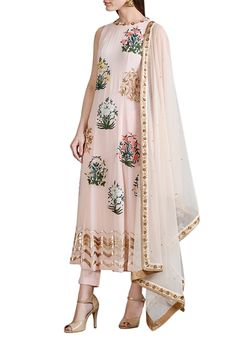 Pale pink embroidered kalidar with trousers & dupatta