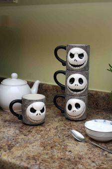 Nightmare Before Christmas Jack Skellington Sculpted Stackable Mugs