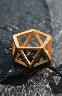 SKELETON - Yellow gold faceted modern geometric 3D printed ring