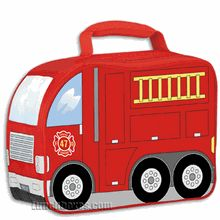 Our red Firetruck #lunchbox is insulated, and comes with a padded handle.