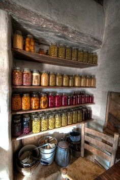 Farmhouse pantry, food storage, storage idea, root cellar, canning and preserving