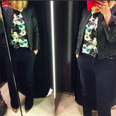 cocomamastyle Wolf and whistle Digital floral daffodil print top, quilted leather jacket, dark denim wide leg flare jeans, leopard pointed courts heels, mum style