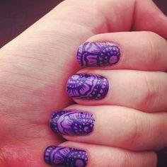 Purple Henna nails (my FA at IG user madamluck's gorgeous design) - Imgur