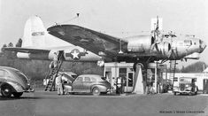 Art Lacey's Bomber Station Milwaulkie Oregon At Art Lacy's birthday party in 1947, he bet a friend five dollars that he was going to put a B-17 Flying Fortress WWII surplus bomber on top of his gasoline station. In a larger-than-life move, Lacy, who had never flown a B-17 before bought one in Oklahoma for thirteen-thousand dollars, and crash landed as a result of a landing gear failure while learning to fly it alone with a manakin as his copilot. His 2nd plane one was used.
