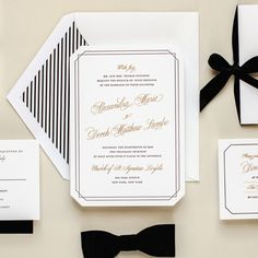 The Grandeur Letterpress Wedding Invitation by Kimberly FitzSimons features black ink and gold foil printed on a custom die cut shape.