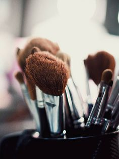 """Grime and oil can build up on your makeup brushes and result in clogged pores. """"It's important to clean your brushes once a week,"""" says Abdo. Use a few drops of shampoo, rinse thoroughly, and then lay flat on a paper towel to dry"""