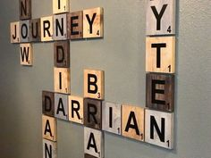 Scrabble name wall art! Beautifully display family names and/or motivational words. Wedding fit, anniversary gift or even birthdays. by Lilsnowflakes on Etsy