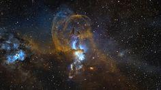 NGC 3576 | Credit: W. Promper http://www.astro-pics.com/3576-tvb.htm  #carina #space #nebula