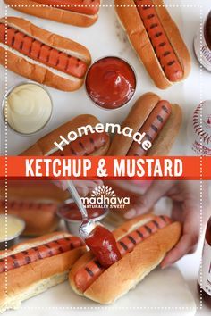 Out Of The Park Homemade Ketchup & Mustard - Madhava Foods Homemade Honey Mustard, Homemade Ketchup, Homemade Dressing, Corn Dogs, Sweet Sauce, Breakfast Muffins, Game Day Food, Hot Dog Buns