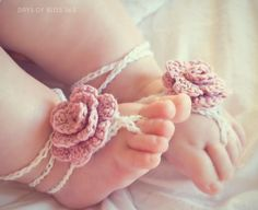 Crochet barefoot rose sandals, pink stylish,shabby chic, christening summer cotton for tiny feet. €15.00, via Etsy.