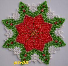 Resultado de imagen para free seed bead patterns for doilies Seed Bead Patterns, Doily Patterns, Beading Patterns, Beaded Christmas Ornaments, Christmas Jewelry, Bead Bowl, Beaded Bags, Beading Tutorials, Ribbon Embroidery