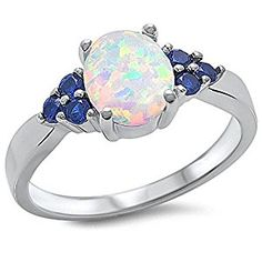 Amazon.com: Lab Created White Opal & Blue Sapphire .925 Sterling Silver Ring Sizes 3-12: Jewelry