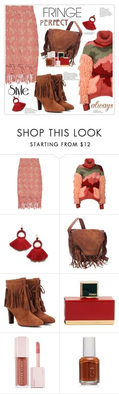 """""""Shimmy Shimmy: Fringe"""" by stranjakivana ❤ liked on Polyvore featuring Alice + Olivia, SHARO, See by Chloé, Fendi, Puma, Essie, fringe and polyvoreeditorial"""
