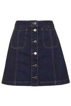 MOTO Indigo Button Front Skirt