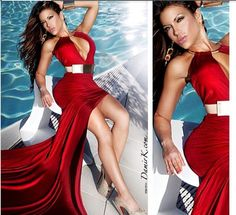 Sexy Red Michael Costello Evening Dresses with Deep V Neck Open Front $117.63 on Babybridal's Store