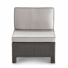 Patio season: This modern wicker armless chair is all-weather, non-rust and has machine washable cushion covers.