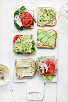 Pretty takes on light sandwiches. Clockwise bottom up - 1. Tomato, Mushroom, Prosciutto, Lettuce 2. Brie and Herb Butter 3. Tomato and Herb Fritatta 4. Caprese 5. Herb Omelet and Butter 6. Apples and Mascarpone Cheese