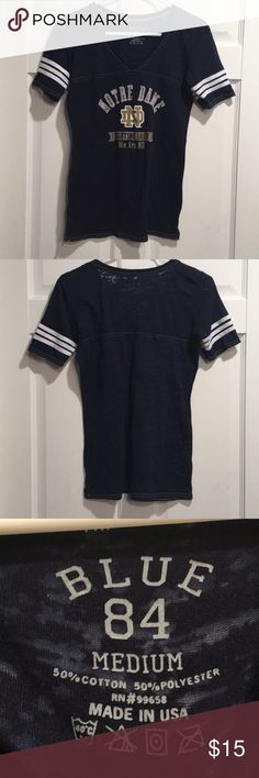 Notre Dame navy blue and gold football tee fitted and comfortable fabric. Worn once and perfect for any day out you want to support your favorite team! blue 84 Tops Tees - Short Sleeve