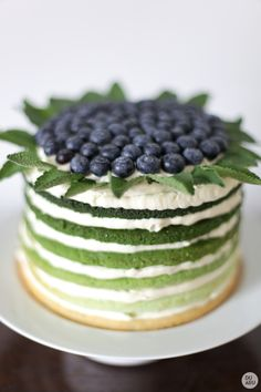 Green ombré iced cake with fresh blueberries and mint leaves on top.