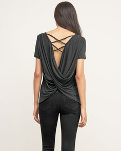 Womens Strappy Back Tee | Modern meets classic with a scoop neck and strappy back detailing, subtle stretch with a drapey silhouette, Easy Fit | Abercrombie.com