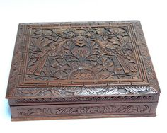 Antique Wooden Box - Colonial Art Deco Carved Hardwood Box - Vintage Trinket Box - Oriental Javanese Carved Wood - Two Love Birds Ornament at VintageArtAndCraft