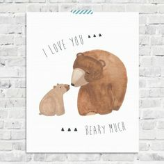 I Love You Beary Much - Brown Brown Bear - Woodland Nursery Wall Art on… Bear Nursery, Woodland Nursery, Nursery Room, Nursery Wall Art, Boy Room, Plaid Nursery, Themed Nursery, Woodland Baby, Nursery Design